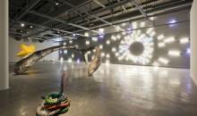 Installation view of Mark Handforth: Rolling Stop at MOCA North Miami