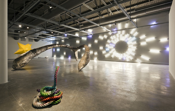 Installation view of Mark Handforth: Rolling Stop at MOCA North Miami