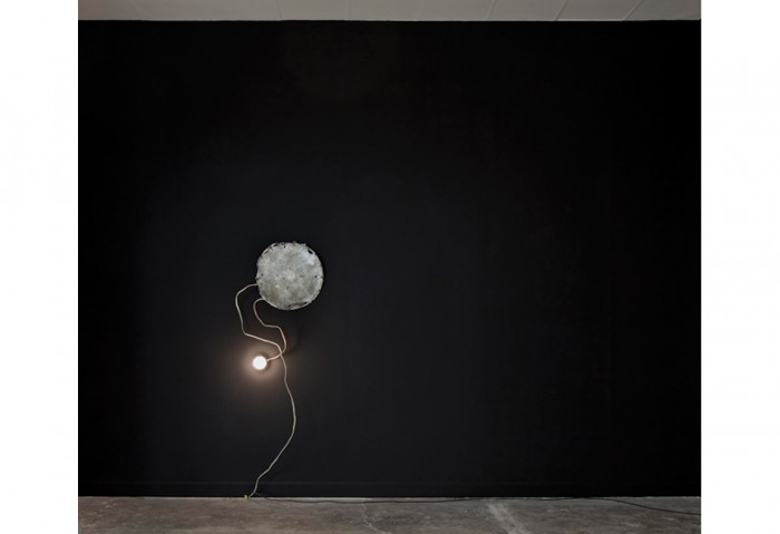 Bhakti Baxter<br>Black Onyx Wall with Light Source, 2010-2011<br>Aluminum, light fixture, Incense <br>110 in. x 88 in. x 7 1/2 in. <br>Collection of the Museum of Contemporary Art, North Miami Museum purchase with funds provided by Janet and Robert Liebowitz