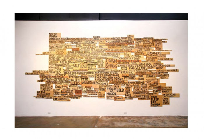 Xaviera Simmons<br>Harvest, 2010<br>hand-painted wood panels <br>Collection of the Museum of Contemporary Art, North Miami <br>Museum purchase