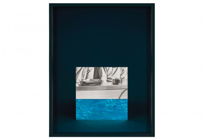 Elad Lassry <br>Teal Swirl, 2010 <br>Silver gelatin print on c-print with painted frame<br>14 1/2 x 11 1/2 x 1 1/2 inches <br>Museum purchase with funds from MOCA's Bohemian Bash