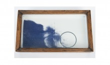 Joseph Cornell, Untitled, 1948, Construction with wood, blue sand, metal ring, ball bearings, glass and varnished paper from French literature book on exterior, 8 1/2 x 14 1/4 x 1 7/8 inches, Collection of the Museum of Contemporary Art, North Miami, Promised gift of Rosalind Jacobs