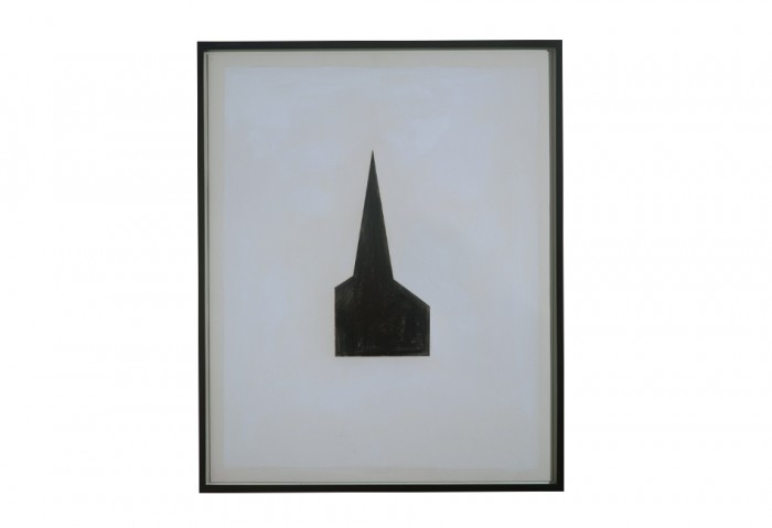 Robert Therrien, <i>Untitled #100 (Steeple)</i>, 1980, Tempera and collage on paper, 20 x 16 inches, Collection of Museum of Contemporary Art, North Miami, Gift of Douglas S. Cramer