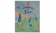 David Rohn,  Gymnasts, 1996, Oil on canvas, 30 x 24 inches, Collection of the Museum of Contemporary Art, North Miami, Gift of David M. Rohn in honor of Bonnie and Jim Clearwater