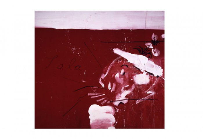 Julian Schnabel, <i>Lola</i>, 1989, Oil and gesso on velvet, 108 x 120 inches, Collection of the Museum of Contemporary Art, North Miami, Gift of Waddington Galleries Ltd., London in honor of Irma Braman