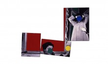 Three Red Paintings, 1988Vinyl paint on three black and white photographs, 94 1/4 x 128 1/4 inches (239.4 x 325.76 cm)Gift of the Lannan Foundation