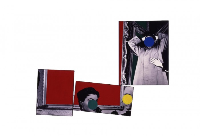 <i>Three Red Paintings</i>, 1988<br>Vinyl paint on three black and white photographs, 94 1/4 x 128 1/4 inches (239.4 x 325.76 cm)<br>Gift of the Lannan Foundation