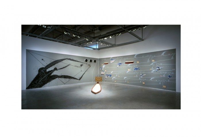 Jose Bedia, <i>Cargo Cult</i>, 2005, Mixed media,121 x 648 inches, Collection of the Museum of Contemporary Art, North Miami, Museum purchase with funds provided by Rosa and Carlos de la Cruz and Diane and Robert Moss