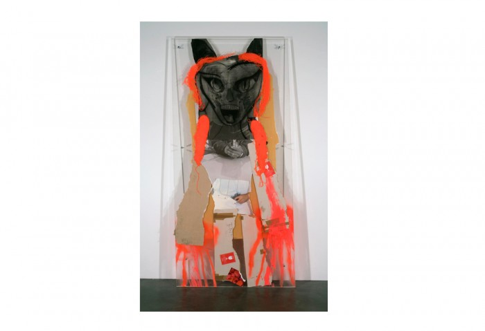Rita Ackermann, <i>Firecrotch</i>, 2008, Plexiglas, yarn, printed paper, cardboard, Tape, charcoal, spray paint and tempera, 93 ¼ x 45 x 2 ¾ inches, Collection of the Museum of Contemporary Art, North Miami, Museum purchase with funds from the MOCA POP 8 ½ fundraiser