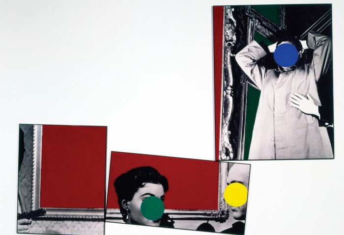 John Baldessari, Three Red Paintings, 1988, vinyl paint on three b&w photographs, 94 1/4 in. x 128 1/4 in.  Gift of the Lannan Foundation