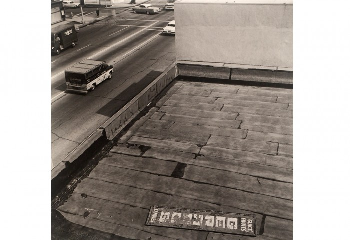 Ed Ruscha, <i>Rooftops<i/>, 1961/2004, Silver-gelatin print, mounted to board 	25 ¼ x 25 ¼ inches each image  	Collection of the Museum of Contemporary Art, North Miami, Gift of Martin Z. Margulies