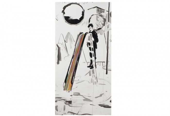 Andrey Klassen, <i>Dreckige Rutsche</i>, 2010,  Ink on paper, 63 x 31 ½ inches, Collection of the Museum of Contemporary Art, North Miami, Museum purchase