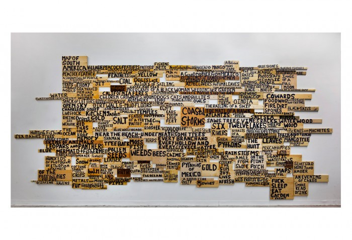 Xaviera Simmons,<i>Harvest</i>, 2010, Wood Installation (wood and acrylic paint), 200+ hand-painted wood panels, Variable dimensions, Collection of Museum of Contemporary Art, North Miami, Museum purchase with funds provided by the Honorable Any Dean and Alan Kluger, Francie Bishop Good and David Horvitz and David Castillo Gallery