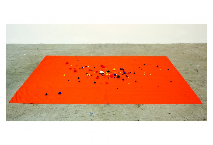Rick Ulysse, <i>Untitled</i>, 2012, Fabric and pom-poms, Collection of the Museum of Contemporary Art, North Miami, Gift of the Artist