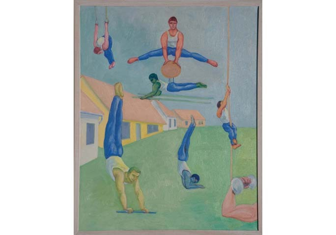 <i>Gymnasts</i>, 1996<br>Oil on canvas, 30 x 24 inches (76.2 x 60.96 cm)<br>Gift of David M. Rohn in honor of Bonnie and Jim Clearwater