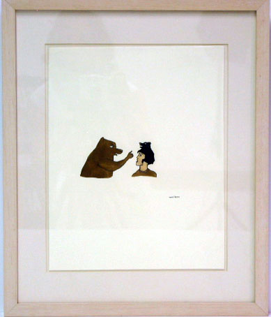<i>Untitled (Female Figure with Bear)</i>, 1998<br>Ink, watercolor, rootbeer on paper, 12 3/4 x 10 inches (32.39 x 25.4 cm)<br>Purchased with funds from the Janet and Robert Liebowitz Acquisitions Fund