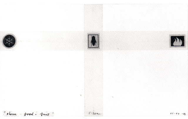 <i>Slow food fast</i>, 1998<br>Collage and tape on paper, 3 x 5 inches (7.62 x 12.7 cm)<br>Purchased with funds provided by Francine Birbragher and Leslie Rozencwaig