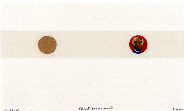 <i>Front back uncle</i>, 1998<br>Collage and tape on paper, 3 x 5 inches (7.62 x 12.7 cm)<br>Purchased with funds provided by Francine Birbragher and Leslie Rozencwaig