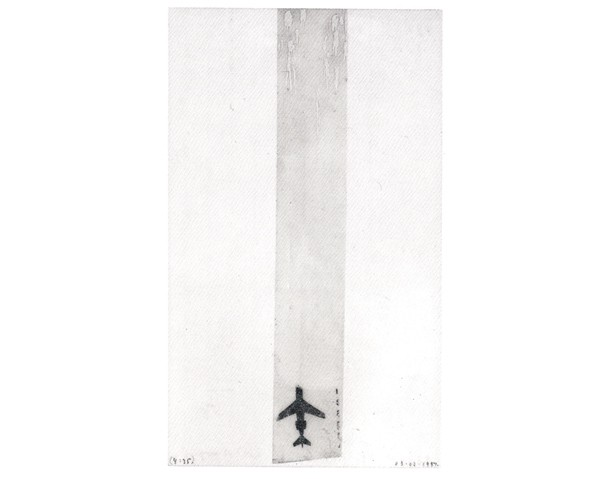 <i>Untitled (airplane)</i>, 1998<br>Collage and tape on paper, 3 x 5 inches (7.62 x 12.7 cm)<br>Purchased with funds provided by Francine Birbragher and Leslie Rozencwaig