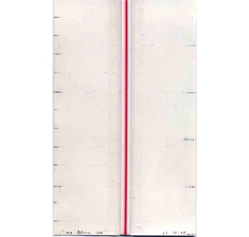 <i>No Rem Ver (B.K. Stir)</i>, 1998<br>Acrylic, graphite, and tape on paper, 3 x 5 inches (7.62 x 12.7 cm)<br>Purchased with funds provided by Francine Birbragher and Leslie Rozencwaig