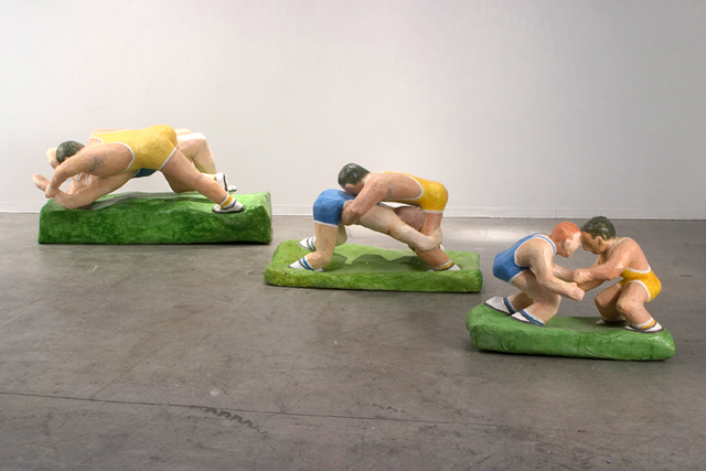 <i>The Wrestlers</i>, 1999<br>Papier mache, dimensions variable<br>Gift of Denny and Paul Feinsilver