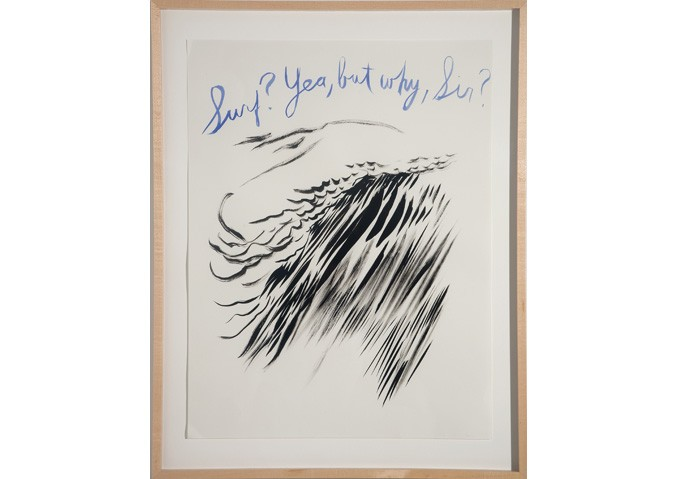 <i>Untitled (Surf? Yea, but why sir?)</i>, 2003<br>Ink on paper, 24 x 19 inches (60.96 x 48.26 cm)<br>Gift of the Artist