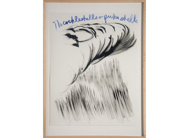 <i>Untitled (No cockleshells or pukashells)</i>, 2003<br>Ink on paper, 24 x 19 inches (60.96 x 48.26 cm)<br>Gift of the Artist