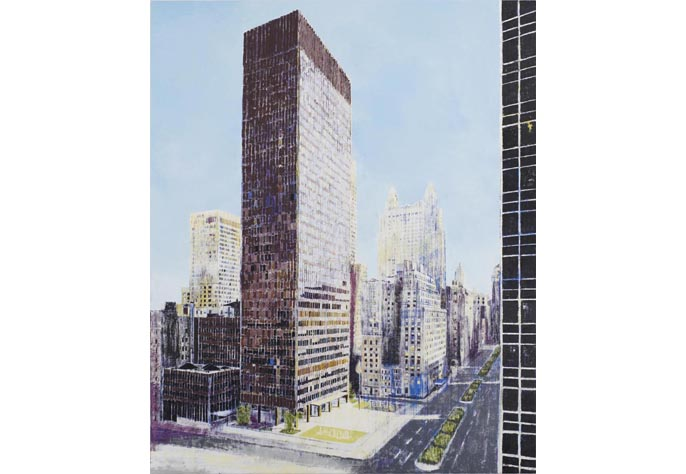 <i>Seagram Building, New York [After a photograph by Ezra Stoller]</i>, 2006<br>Oil on canvas, 105 x 86 inches (266.7 x 218.44 cm)<br>Purchased with funds provided by Peter and Jody Robbins, Braman Family Foundation, and POP 2007 Fundraiser