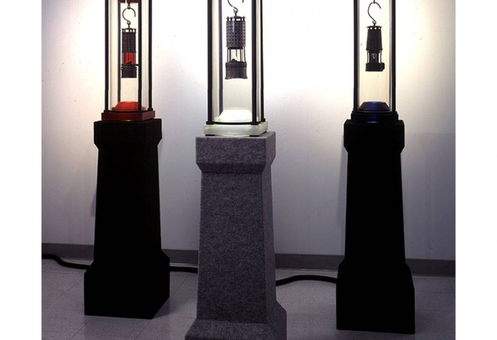 <i>Allied Uranium Miner</i>, 2001<br>Pitch Blend miners lantern encapsulated in reliquary on cenotaph, 61 x 13 x 13 inches (154.94 x 33.02 x 33.02 cm)<br>Gift of George L. Lindemann Family Limited Partnership
