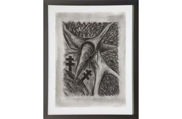 <i>Drawing for Peter (Busa)</i>, 1984-85<br>Charcoal on paper, 30 x 22 1/4 inches (76.2 x 56.52 cm)<br>Gift of Joan and Roger Sonnabend