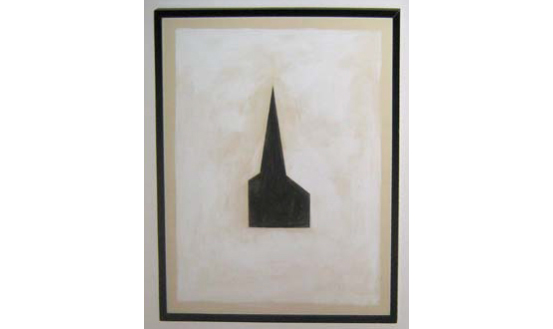 <i>Untitled #100 (Steeple)</i>, 1980<br>Tempera and collage on paper, 20 x 16 inches (50.8 x 40.64 cm)<br>Gift of Douglas S. Cramer