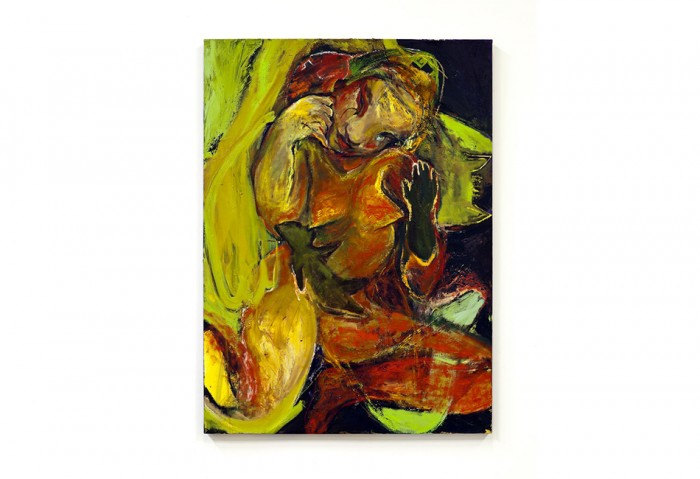 <i>African Nurse</i>,2005-08<br>Acrylic, oil, gel medium, oil stick, spray paint, leather, rabbitskin glue on canvas on stretched canvas, 67 x 49 x 1 3/4 inches (170.18 x 124.46 x 4.45 cm)<br>Gift of the Artist