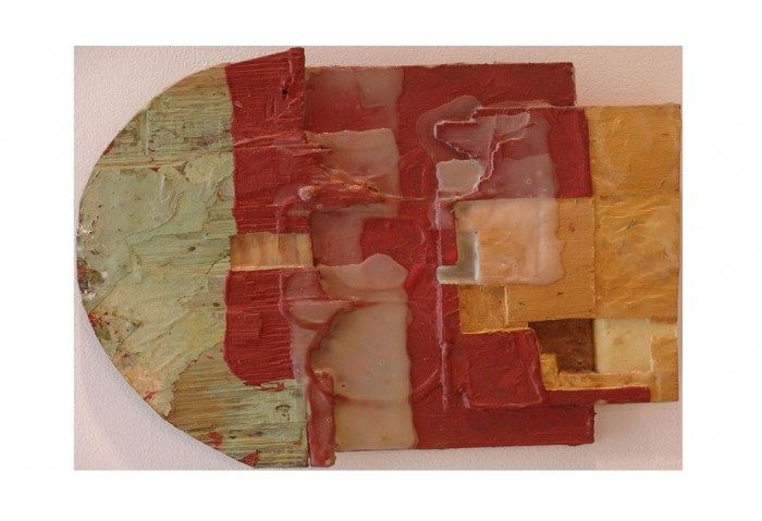 <i>KI-Mid 92</i>,	1991<br>Acrylic, oil, glue, and pushpins on wood, 12 x 13 x 1 inches (30.48 x 33.02 x 2.54 cm)<br>Gift of James S. and Marisol G. Higgins