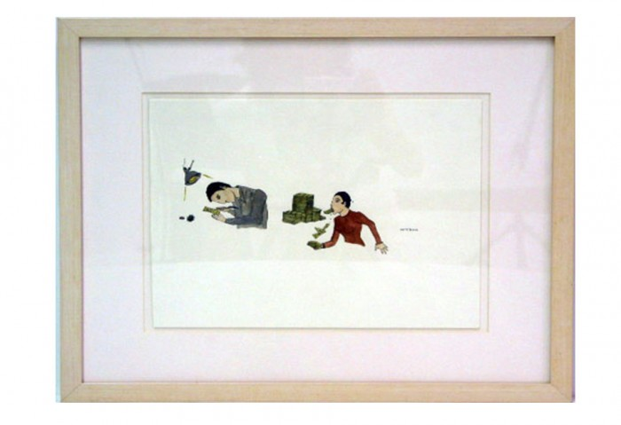 <i>Untitled (Two figures with Money)</i>, 1998<br>Ink, watercolor, rootbeer on paper, 9 x 11 11/16 inches (22.86 x 29.69 cm)<br>Purchased with funds from the Janet and Robert Liebowitz Acquisitions Fund