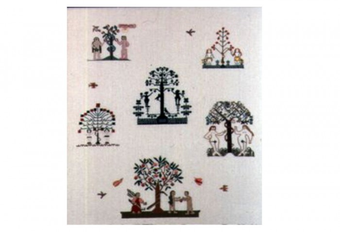 <i>Sampler (Adam and Eve)</i>, 2002<br>Textile, 32 1/2 x 28 5/8 inches (82.55 x 72.71 cm)<br>Purchased with funds provided by the Braman Family Foundation