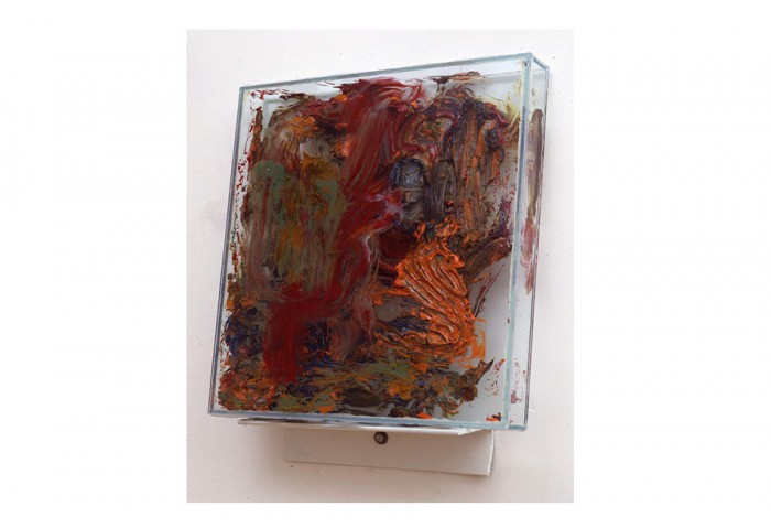 <i>Cope</i>, 1993<br>Oil, axel grease, silicone on glass and steel, 26 x 19 x 6 1/2 inches (66.04 x 48.26 x 16.51 cm)<br>Gift of James S. and Marisol G. Higgins