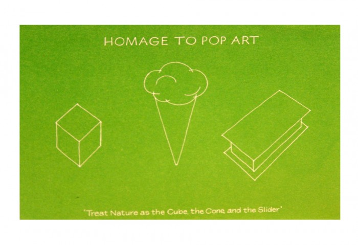 <i>Homage to Pop Art</i>,	1973<br>Card (silkscreen), 4 1/8 x 5 13/16 inches (10.5 x 14.8 cm)<br>Gift of Marvin and Ruth Sackner