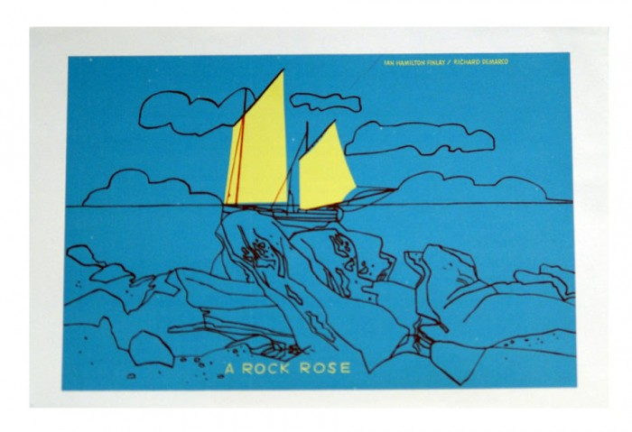 <i>A Rock Rose: Announcement</i>, 1970<br>Pamphlet (folded, silkscreened),	 4 13/16 x 6 3/4 inches (12.2 x 17.2 cm)<br>	Gift of Marvin and Ruth Sackner