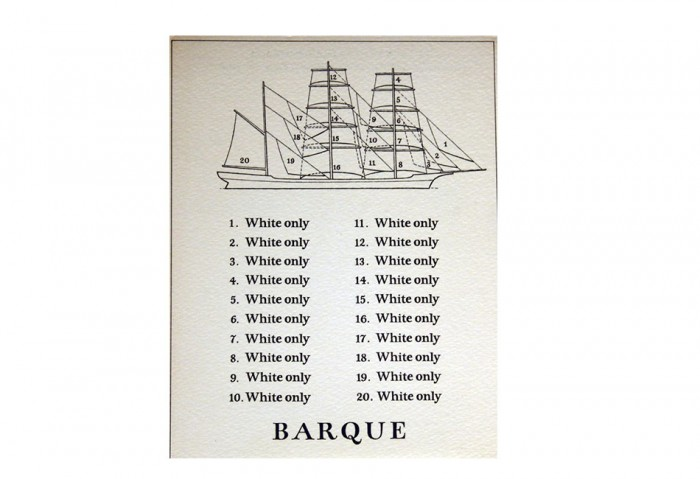 <i>Iron Ship</i>, 1972<br>Card, 5 5/16 x 6 5/16 inches (13.5 x 16 cm)<br>Gift of Marvin and Ruth Sackner