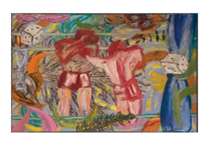 <i>Boxing Match in a Tree</i>,	1981<br>Acrylic on canvas, 71 3/4 x 94 5/8 inches (182.25 x 240.35 cm)<br>Gift of Earl Millard