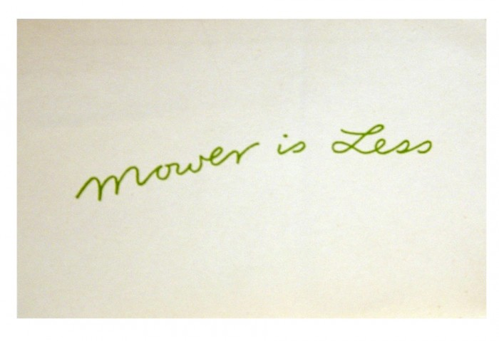 <i>Mower Is Less	</i>, 1973<br>Card, 4 1/8 x 5 13/16 inches (10.4 x 14.7 cm)<br>Gift of Marvin and Ruth Sackner