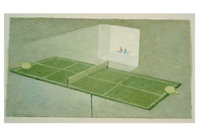<i>The End of Ping Pong</i>, 2002<br>Mixed media on paper, 12 1/2 x 19 inches (31.75 x 48.26 cm)<br>Gift of Liza and Dr. Arturo F. Mosquera