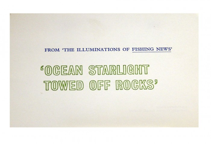 <i>From 'The Illuminations of Fishing News'</i>,	1968<br>Card (letterpress), 4 15/16 x 6 5/8 inches (12.5 x 16.8 cm)<br>Gift of Marvin and Ruth Sackner
