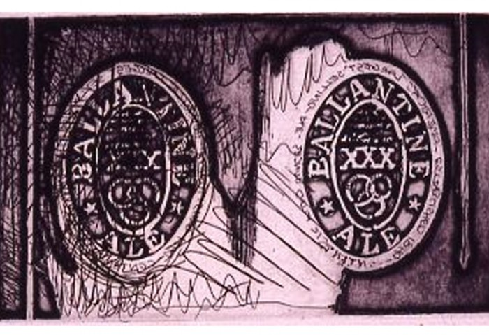 <i>Ale Cans</i>, 1967-69<br>Etching and aquatint, 19 1/4 inches (48.9 cm)<br>Promised gift of Ruth and Richard Shack
