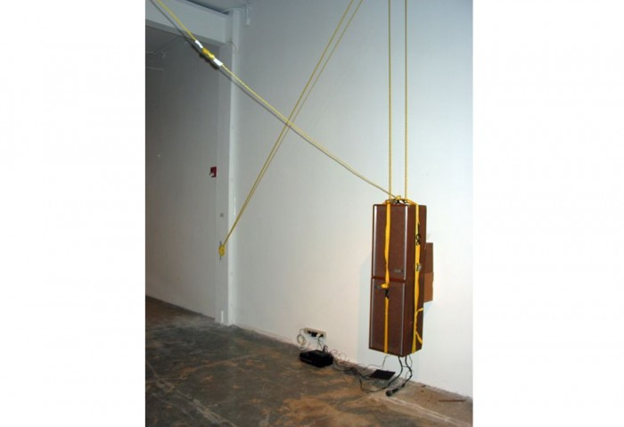 <i>Speaker/Slam Lancer 44's</i>, 1993<br>Motor, amplifier, speakers, ropes, and pulley, dimensions variable<br>Purchased with funds provided by Janet and Robert Liebowitz