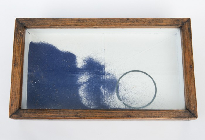 <i>Untitled</i>, 1948<br>Construction with wood, blue sand, metal ring, ball bearings, glass and varnished paper from French literature book on exteriors, 8 1/2 x 14 1/4 x 1 7/8 inches (21.59 x 36.2 x 4.76 cm)<br>Promised gift of Rosalind Jacobs