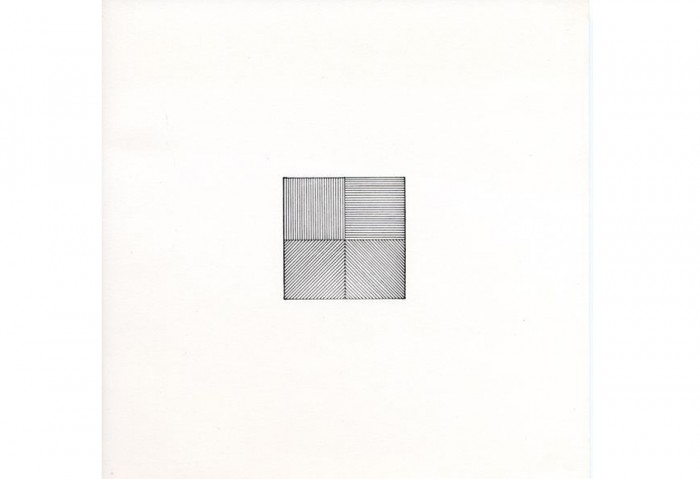 <i>Lines in Four Directions</i>, 1976<br>Rubber stamp print,	8 1/2 x 8 1/2 inches (21.59 x 21.59 cm)<br>Gift of Ruth and Richard Shack