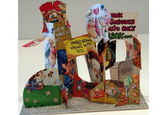 <i>Larry House Calls (Mine)</i>, 1992<br>Greeting card collage, 11 3/4 x 13 x 5 1/2 inches (29.85 x 33.02 x 13.97 cm)<br>Gift of Eileen and Peter Norton