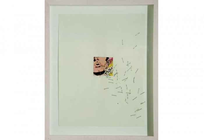 <i>Whistle</i>, 1989<br>Staples and collage on paper, 11 x 8 1/2 inches (27.94 x 21.59 cm)<br>Purchased with funds provided by Daphne and Peter Farago