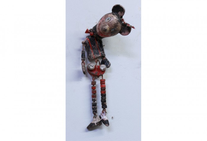 <i>Untitled (Mickey Wearing Taps and Bow Tie)</i>, 2011<br>Unfired clay, paint, and cloth, 15 x 3 1/2 x 3 inches (38.1 x 8.89 x 7.62 cm)<br>Purchased with funds from Surf's Up 2011